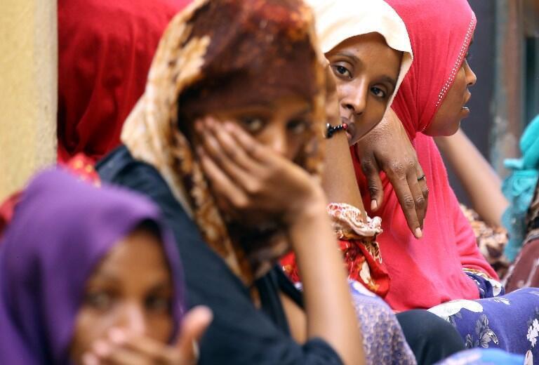 Female migrants inside the Ganzour shelter in Tripoli, Libya, September 2018