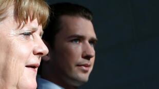 德國總理默克爾與奧地利總理庫爾茨資料圖片