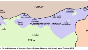 Vùng do người Kurdistan kiểm soát ở phía bắc Syria (màu tím) có tên thường gọi là Rojava (có nghĩa là Tây Kurdistan). Bản đồ lập tháng 10/2016.