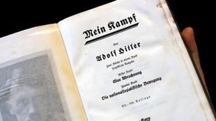 """A copy of Adolf Hitler's book """"Mein Kampf"""" (My Struggle) from 1940 is pictured in Berlin, Germany, in this picture taken December 16, 2015."""