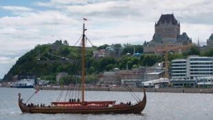 Драккар Draken Harald Hårfagre викингов прибыл в Квебек