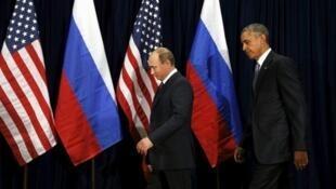 El presidente Barack Obama y su par ruso Vladimir Putin, antes de su encuentro en la asamblea general de la ONU, en Nueva York, el 28 de Septiembre de 2015.