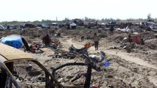 Los restos de lo que fuera el ultimo reducto territorial del grupo Estado Islámico en Baghuz, Siria.
