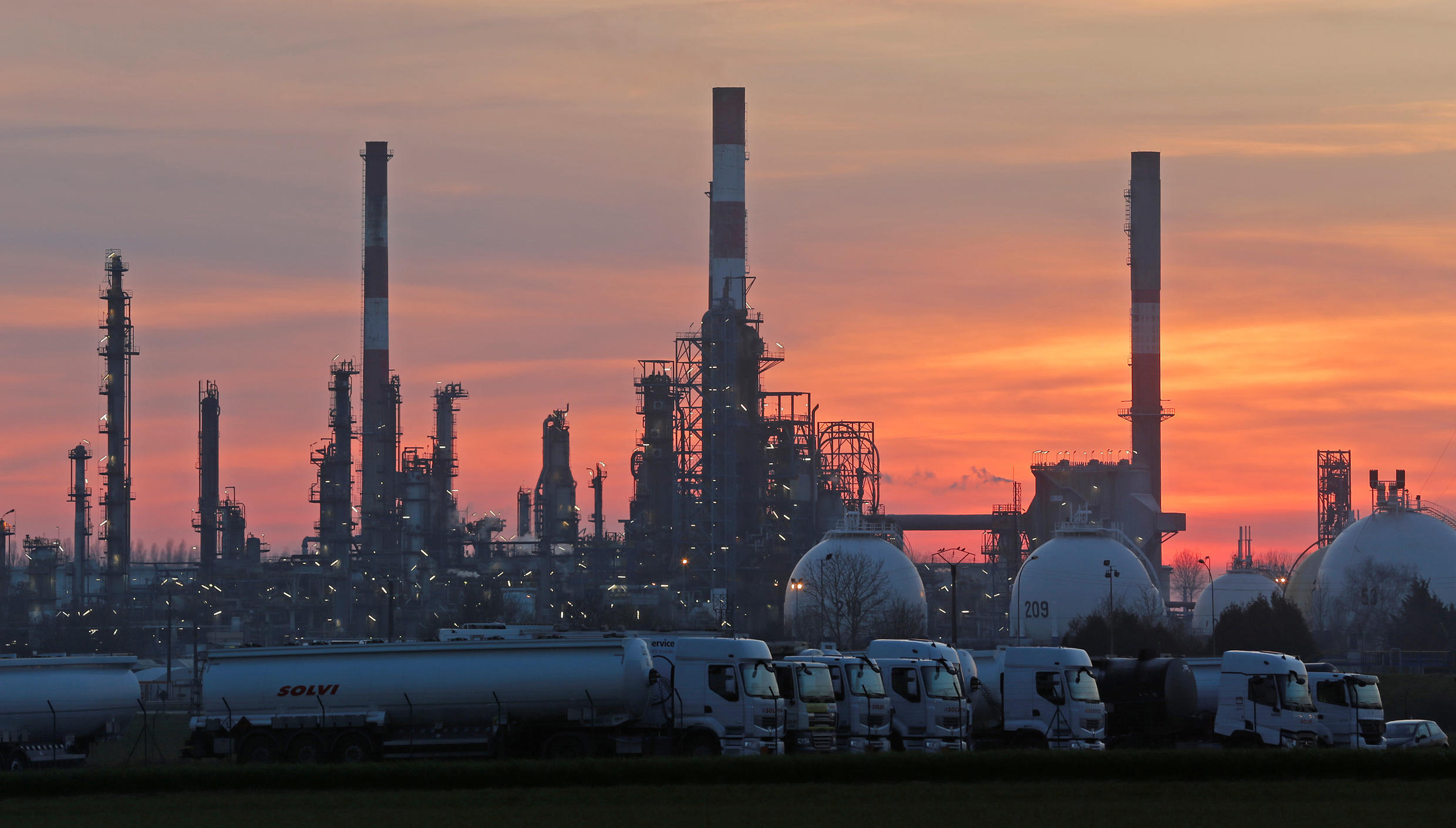 The Total Grandpuits oil refinery and petrol depot southeast of Paris.