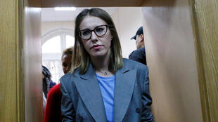 Ksenia Sobchak, 35 ans, au procès du metteur en scène Kirill Serebrennikov, le 17 octobre 2017, à Moscou.