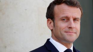 法國總統馬克龍會見瓜伊多