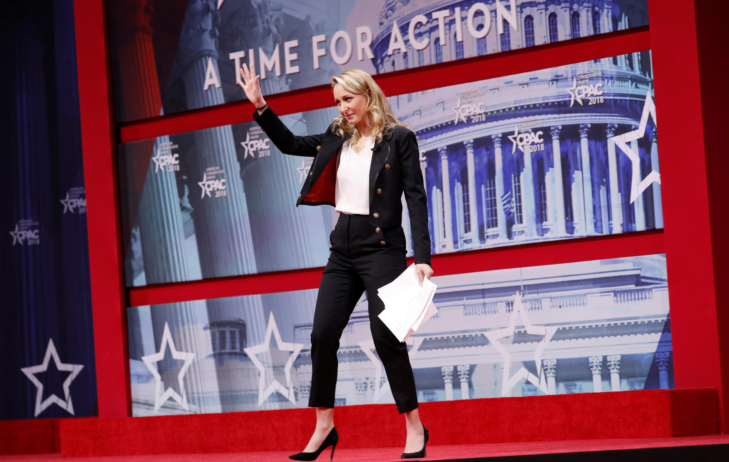 Marion Marechal-Le Pen, niece of right-wing populist French politician Marine Le Pen, waves after speaking at the Conservative Political Action Conference (CPAC) at National Harbor, Maryland, U.S., February 22, 2018.