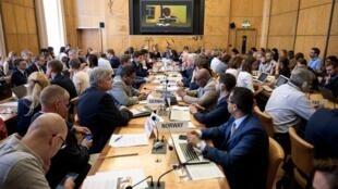 Vue d'ensemble de la réunion de l'OMS sur Ebola en République démocratique du Congo, le 15 juillet 2019 à Genève.