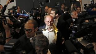 Jean-Claude Mas, fundador de la empresa PIP,  a su llegada al tribunal de Marsella, en abril.
