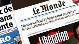 Capa dos jornais franceses desta segunda-feira.