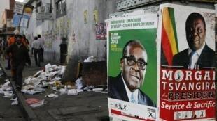 Hotunan 'Yan takarar zaben shugaban kasar Zimbabwe Robert Mugabe da Morgan Tsvangirai,