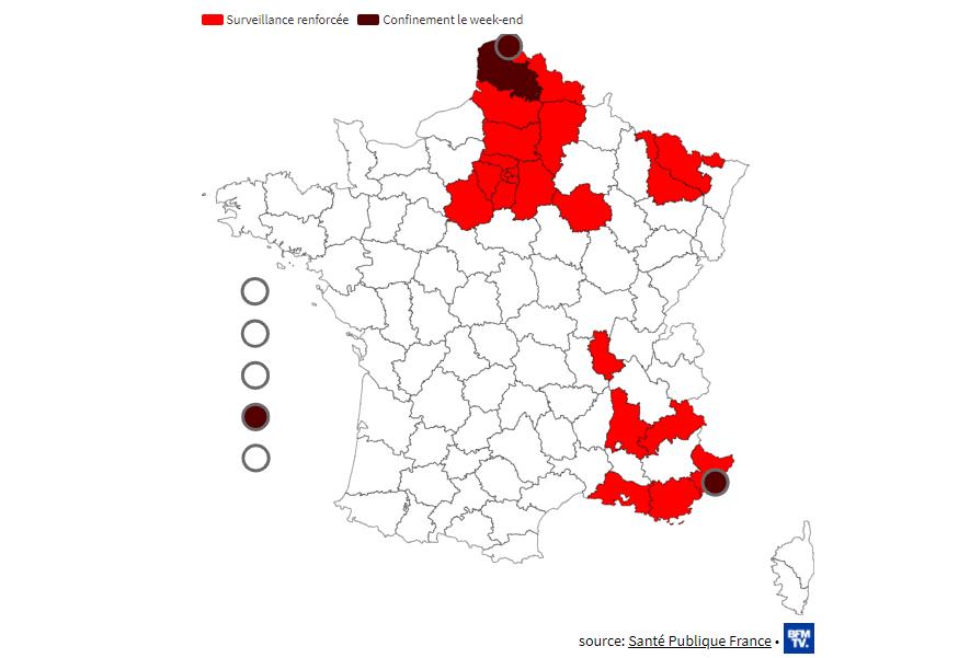 """23 департамента Франции сейчас находятся под """"усиленным наблюдением"""" как очаги быстрого распространения эпидемии."""