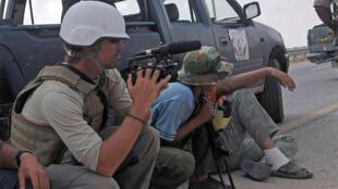 Le journaliste américain James Foley, ici lors d'une mission en Libye en 2011, a été assassiné en 2014 par les jihadistes de l'Etat islamique.