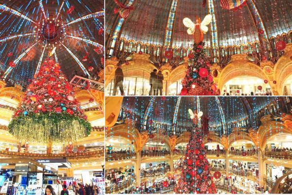 Cây thông Giáng Sinh ở trung tâm cửa hàng Galeries Lafayette