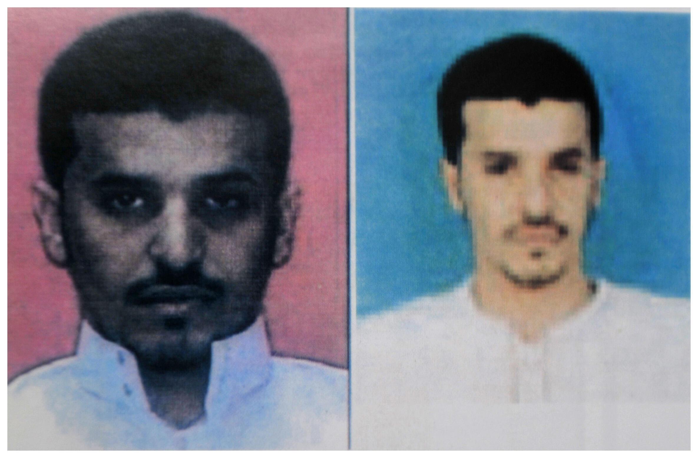 Retratos de Hassan al Asiri, procurado pela polícia iemenita.