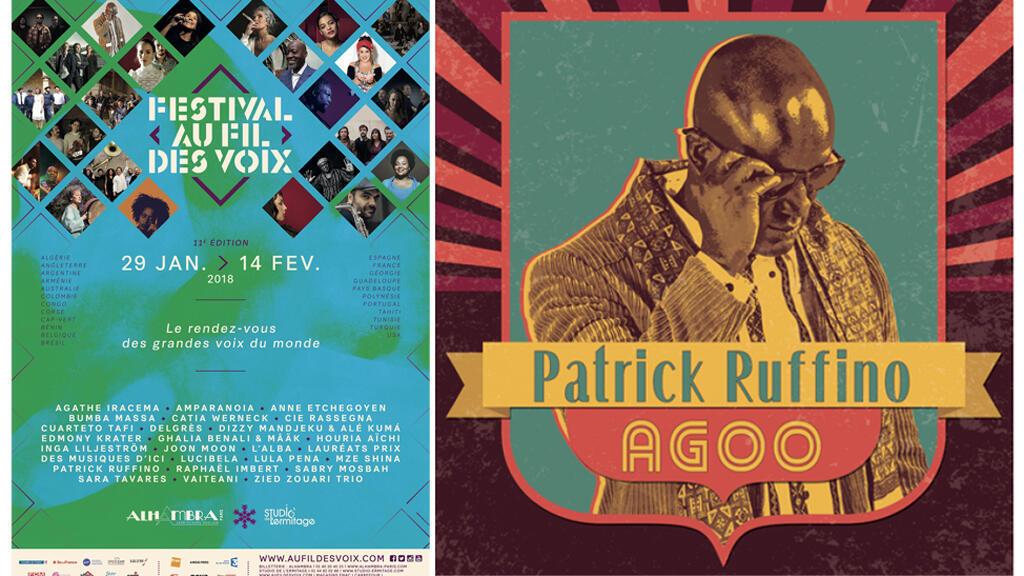 Affiche Au festival Au fil des voix et pochette de l'album «Agoo», de Patrick Ruffino.