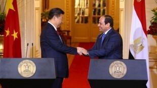中國國家主席習近平與埃及總統塞西舉辦記者招待會,2016年1月21號