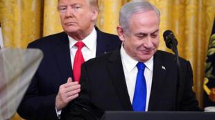 Donald Trump et Benyamin Netanyahu, le 28 janvier 2020.