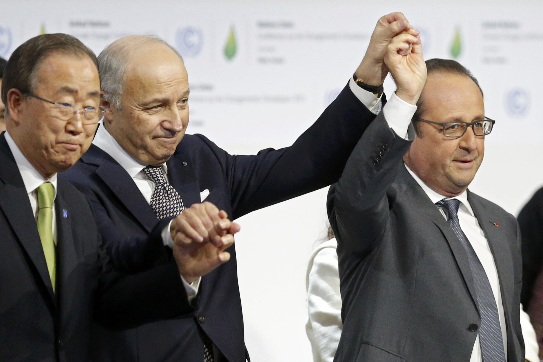 Ngoại trưởng Pháp Laurent Fabius, Tổng thư ký LHQ Ban Ki-moon và Tổng thống François Hollande