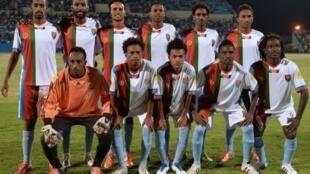 L'équipe nationale de football de l'Érythrée en octobre 2015.