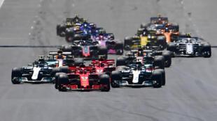 Le circuit de Silverstone, ici lors du départ du GP F1 de Grande-Bretagne, le 8 juillet 2018, espère accueillir ses Grands-Prix