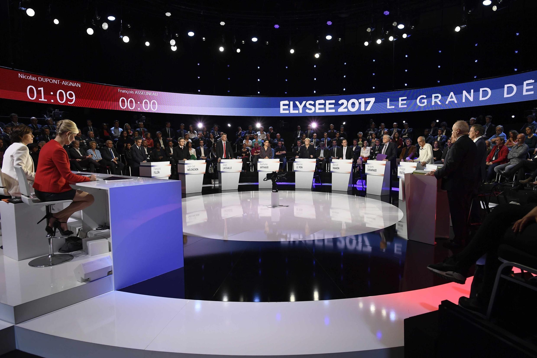 法國11位總統候選人4月4日在法國BFM TV進行電視辯論