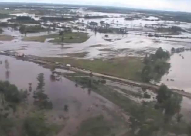 Imagem do dia 17 de agosto de 2013 mostra a inundação provocada pelas enchentes no leste da Rússia,na região do rio Amur.