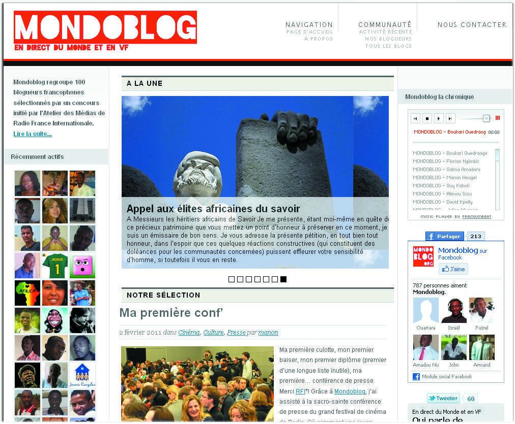La page d'acceuil de la plate-forme Mondoblog