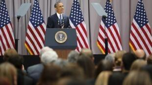 Barack Obama, diante de estudantes em Washington, defende acordo sobre programa nuclear iraniano.