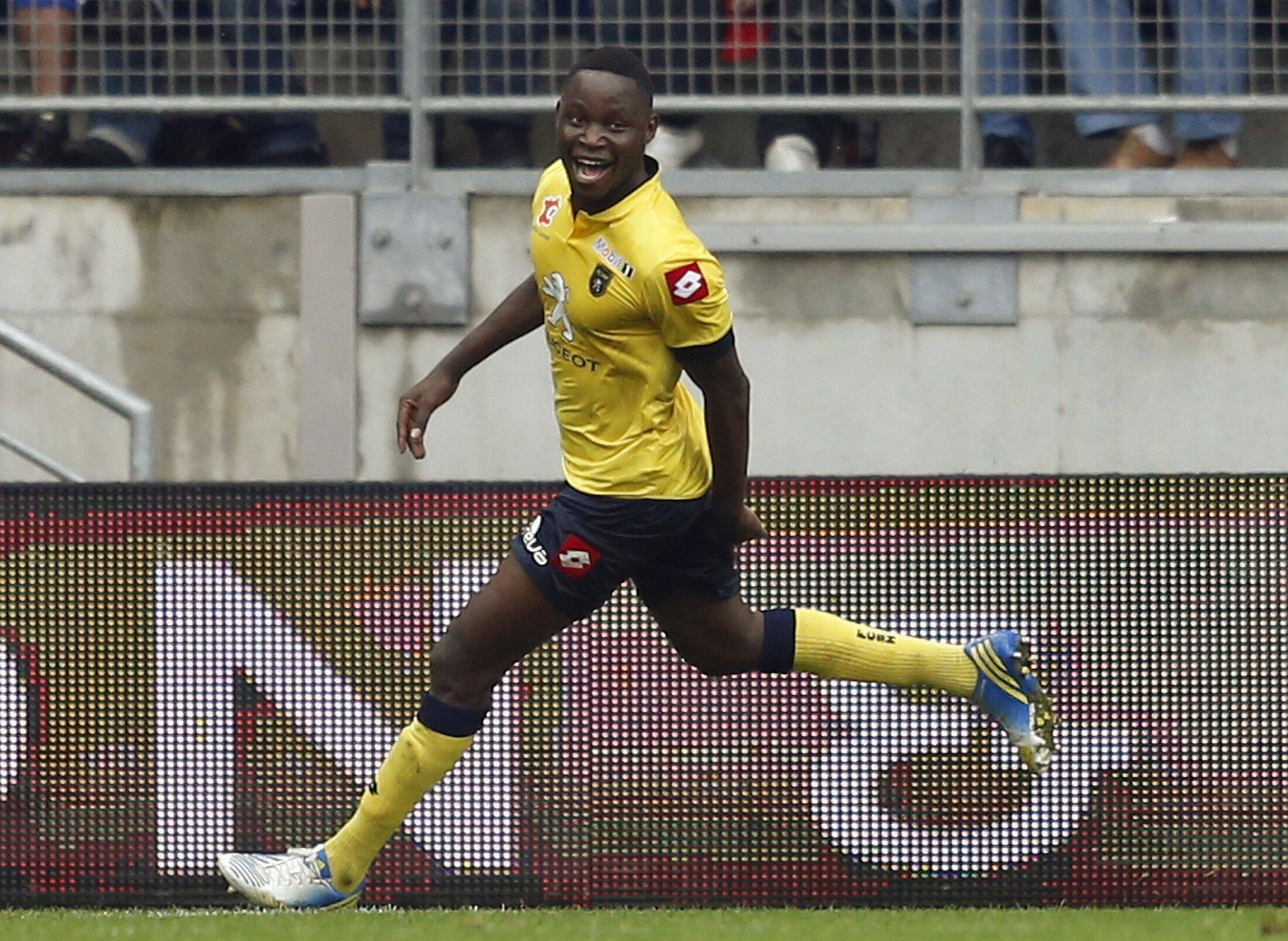 La joie de Joseph Lopy après avoir marqué son premier but en Ligue 1 face à Monaco au stade Bonal de Sochaux, le 20 octobre 2013.
