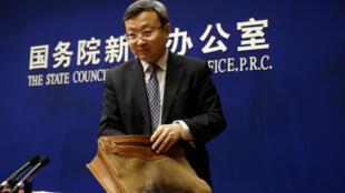 中國商務部副部長兼中國國際貿易代錶王守文2018年4月4日北京