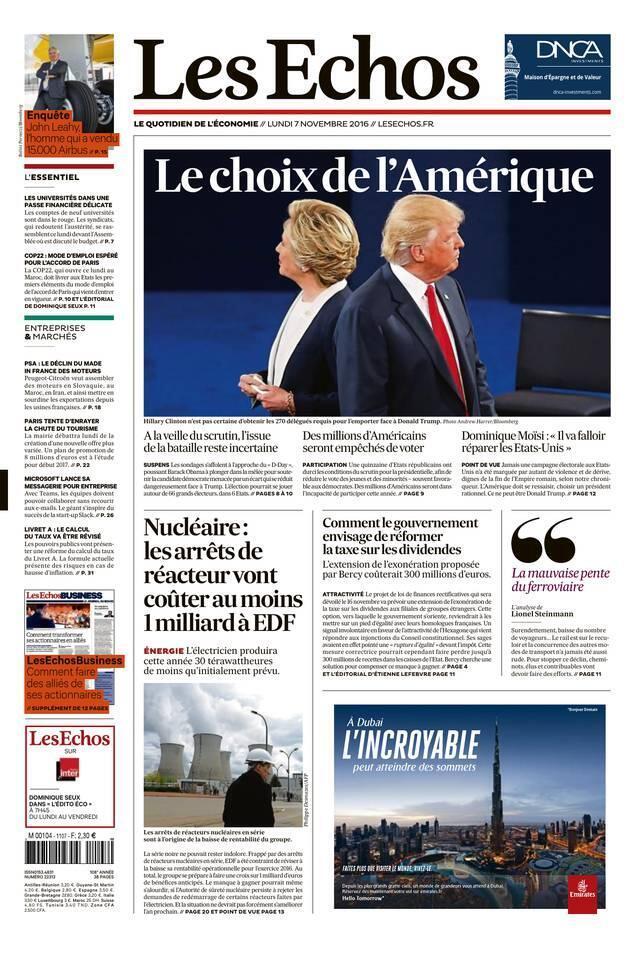 Capa do jornal francês Les Echos desta segunda-feira, 7 de novembro de 2016, com destaque para o duelo entre a democrata Hillary Clinton e o republicano Donald Trump.