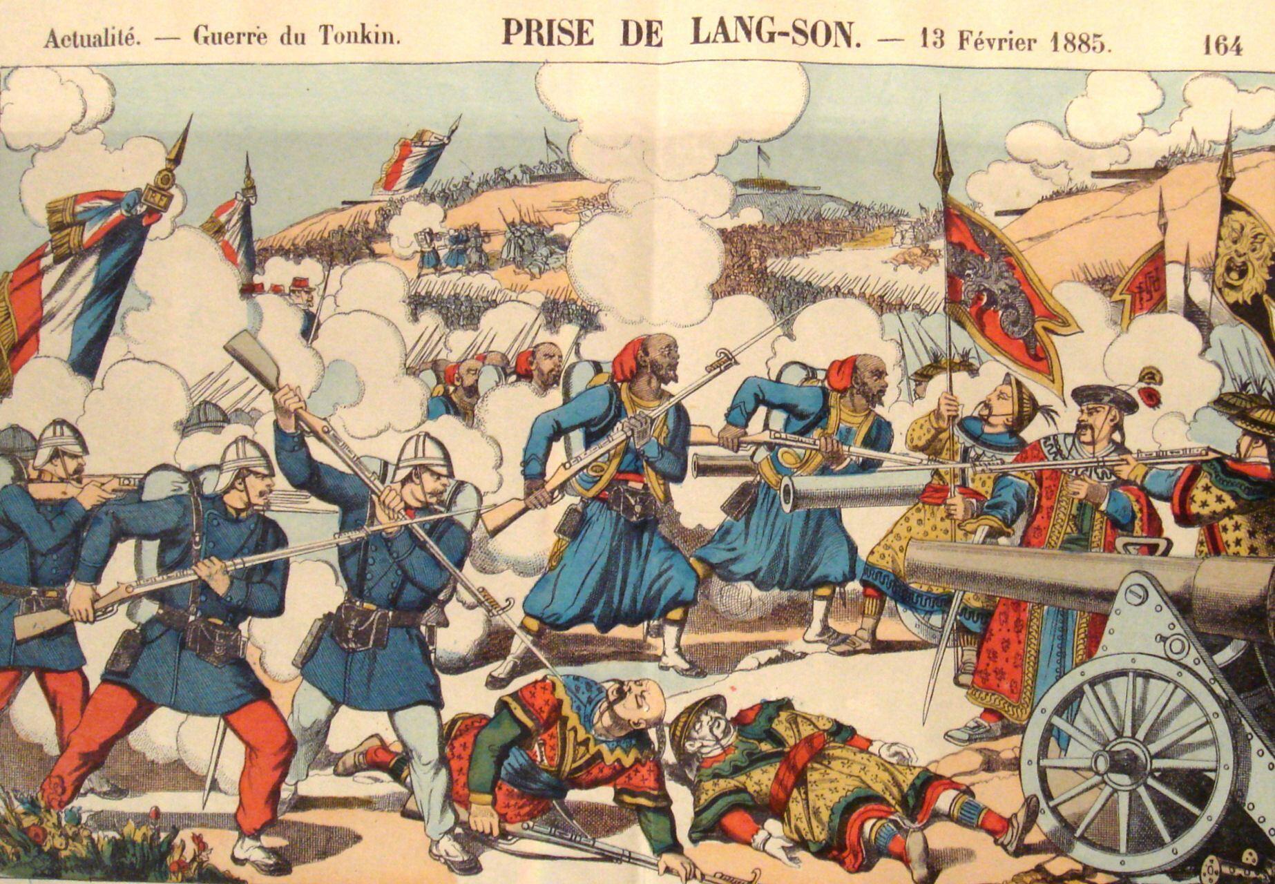 Quân đội Pháp chiếm Lạng Sơn tháng 02/1885, dưới sự chỉ huy của tướng Oscar de Négrier, trong cuộc chiến biên giới Việt-Trung.