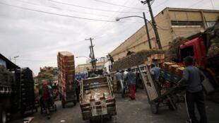 Descarga de caminhões no Ceagesp, em São Paulo: entrega de frutas foi reduzida por conta da paralização