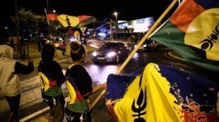 Des indépendantistes kanaks célèbrent leur bon score au référendum d'autodétermination du 4 octobre 2020, à Nouméa.