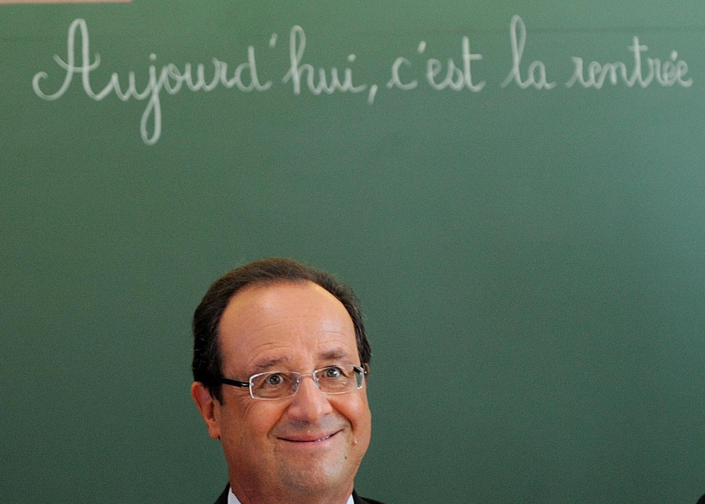 French President François Hollande during a visit to Michelet school in Denain, 3 September, 2013