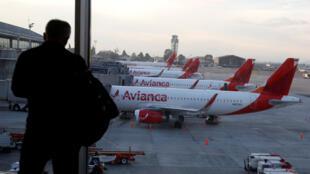 Les avions de la compagnie Avianca cloués au sol à l'aéroport El Dorado de Bogota (image d'illustration).