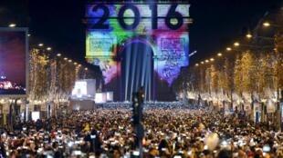 Campos Elíseos celebrando la entrada de 2016