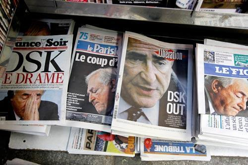 French newspapers' front pages on 16 May 2011