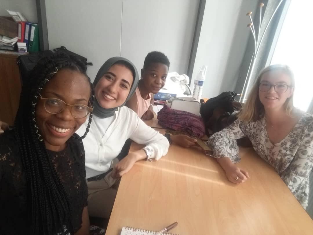From left to right: Adaobi, Yomna, Roseline and Augusta visit the Ecole de la deuxième chance near Paris