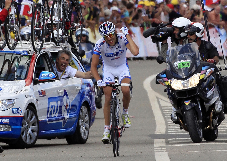 Thibaut Pinot s'offre la victoire à Porrentruy, le 8 juillet 2012.