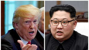 A combination photo shows U.S. President Donald Trump and North Korean leader Kim Jong Un (R) in Washignton, DC, U.S. May 17, 2018 and in Panmunjom, South Korea, April 27, 2018 respectively.