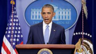 Tổng thống Mỹ Barack Obama phát biểu sau vụ 3 cảnh sát tại Louisiana bị sát hại, 17/07/2016.