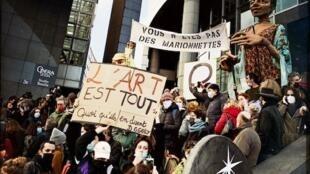 Manifestation Bastille pour la reouverture des lieux culturels