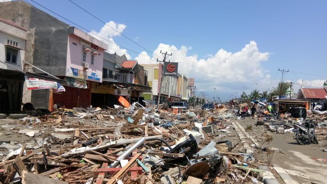 La ciudad costera de Palu tras el paso del terremoto y del tsunami.