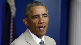 Tổng thống Mỹ Barack Obama trả lời báo chí tại Nhà Trắng, 28/08/2014.
