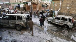 Explosion à Sanaa le 23 décembre. Les miliciens chiites, les houthistes, poursuivent depuis le début de l'année une offensive qui leur a permis de prendre le contrôle de la capitale yéménite, le 21 septembre 2014.