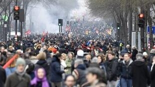 Manifestação em Paris em 22 de março de 2018.