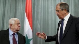 Ngoại trưởng Nga Lavrov tiếp đồng nhiệm Syria Walid al-Moualem tại Matxcơva ngày 27/11/2015.
