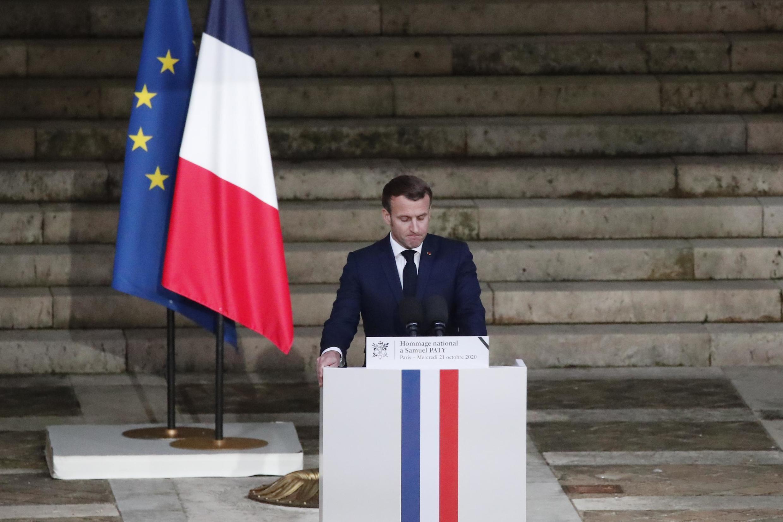 Le président français Emmanuel Macron, lors de l'hommage national à Samuel Paty, à la Sorbonne le 21 octobre 2020.